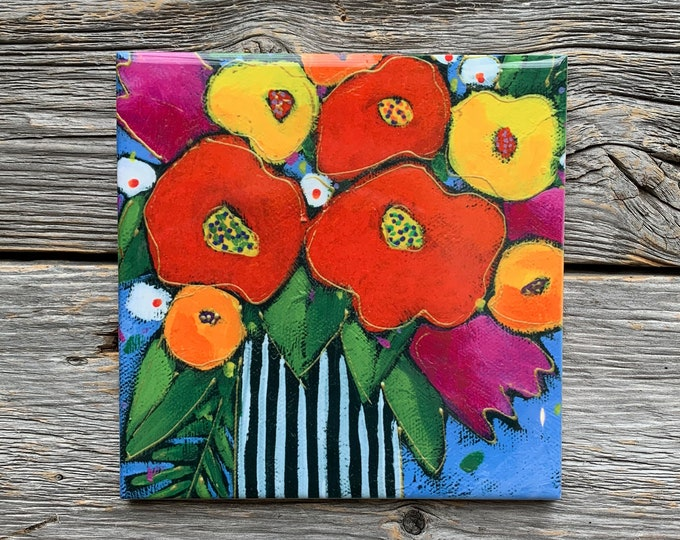 Ceramic tile, Coaster, black and white Flower vase, red, orange and yellow flowers, ceramic flowers lovers
