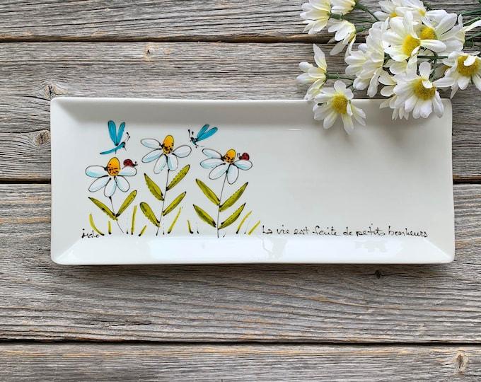 rectangle porcelain plate daisy ladybug dragonfly tray kitchen hand paint