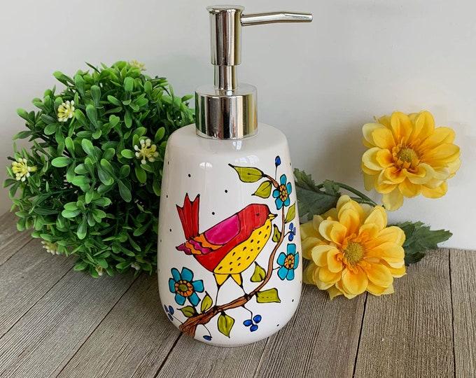 Bird soap dispenser, pump bottle, red and yellow bird, blue flowers, lotion dispenser, Hand painted