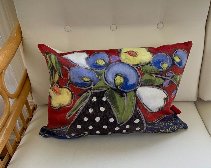 Pillow case, Velveteen, blue, yellow and white flowers, red and blue background, home decoration gift, flower cushion gift