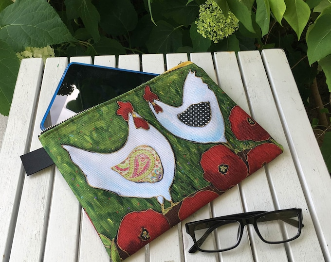Carry All Zipper pouch, Hen, Chicken, travel friendly, storage bag, mini iPad or small tablette