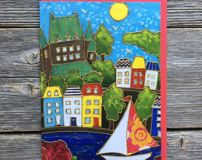 Greeting card, Quebec city, Chateau Frontenac, colourful houses, Sail boat, gift wishing card, birthday card, gift card