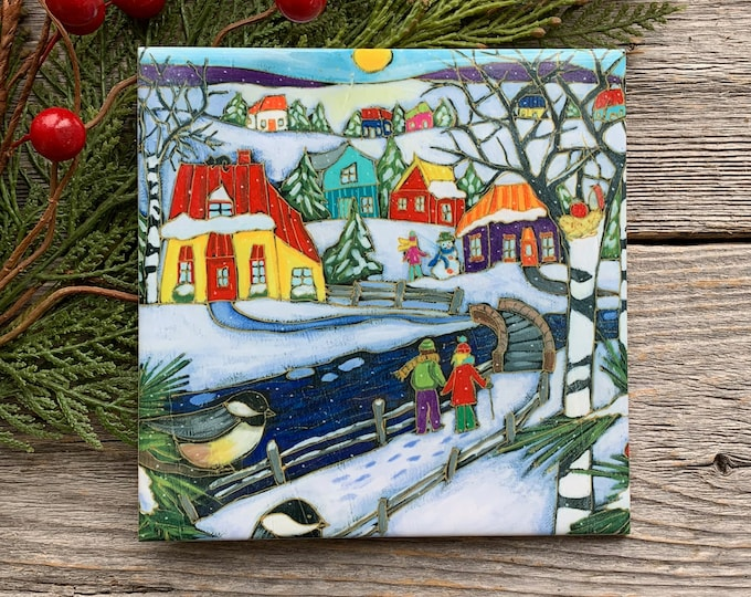 Ceramic tile wall Art, Winter scene landscape, Colourful houses, couple, birds, square trivet, 6 x 6, wall art ceramic