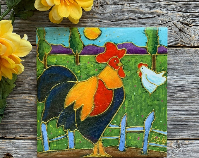 "Ceramic tile,  Rooster and hen,  Landscape, 6"" x 6"", decoration, square trivet, Art print by Isabelle Malo"
