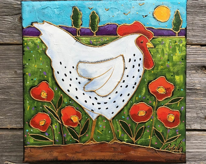 Featured listing image: Original acrylic painting on canvas, Hen, country, folk art hen gift, chicken art gift