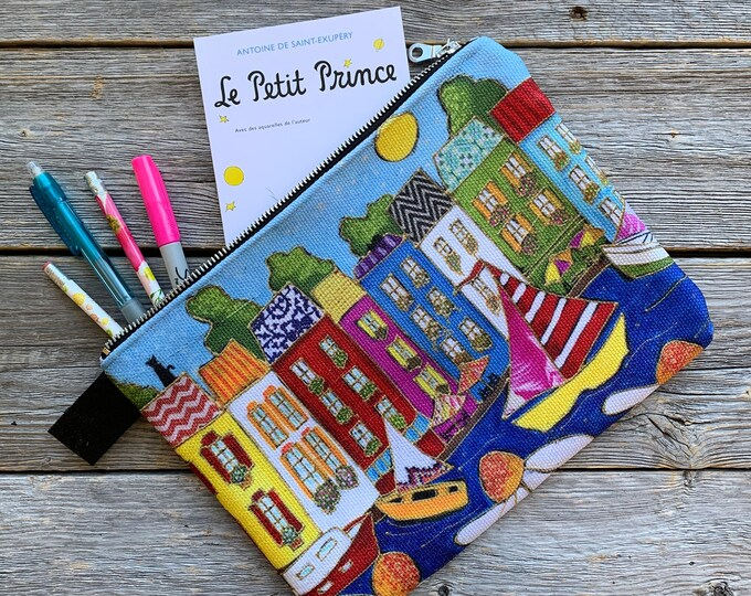 Carry All Zipper pouch, Colourful Italy houses and sailboat, Cosmetic pouch, travel friendly, storage bag, mini iPad, small tablette