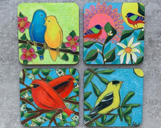 "BIrd Coasters, Set of Coasters 4"", goldfinch, lover bird, red bird, tricolour bird, coaster table, Home decor, kitchen gift"