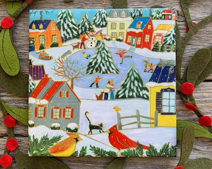 Ceramic tile trivet Winter scene village