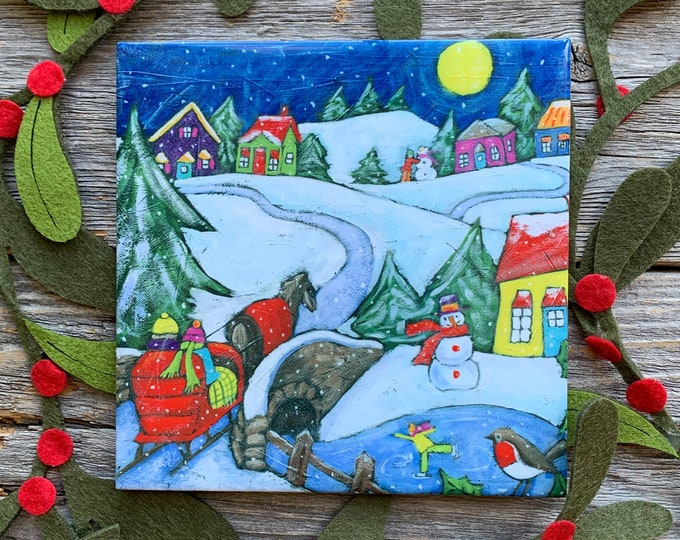 Ceramic tile wall Art, Winter scene landscape, ice skating, winter carriage, Colourful houses, square trivet, 6 x 6, wall art ceramic