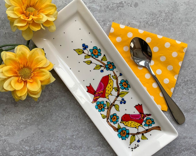 Bird rectangle small tray, Bird spoon rest, Small tray, bird lover gift, hand painted