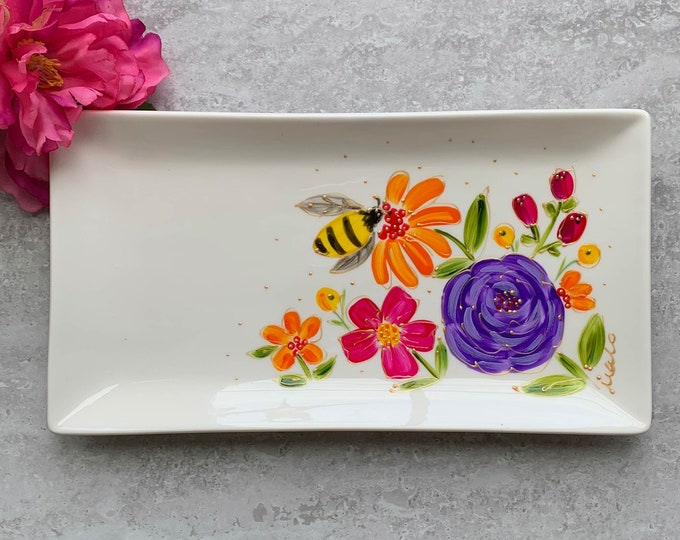 rectangle porcelain plate, Bee, pink, purple, orange, yellow flowers, small tray, kitchen flower gift, hand paint plate