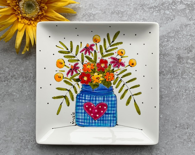 Square porcelain plate hand painted flower vase colorful flower heart serving tray kitchen decoration