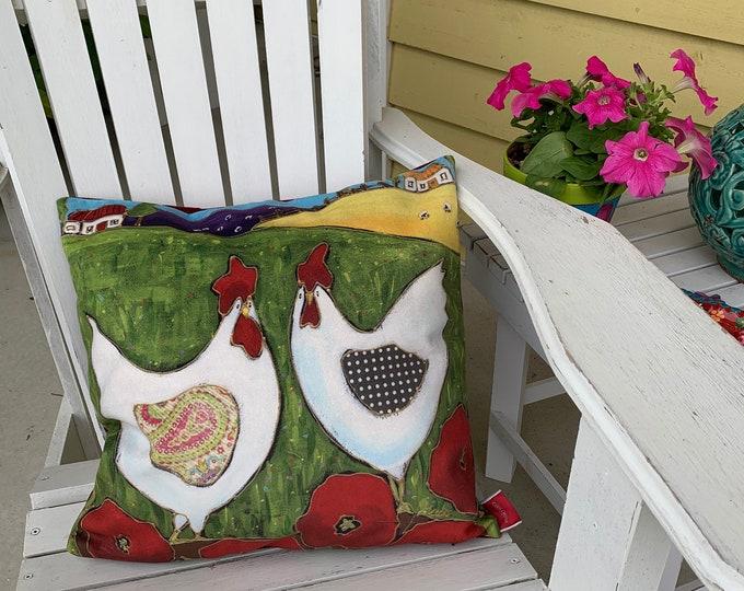 Pillow case decorative, Hen, Velveteen fabric, home decoration gift, hen lover gift