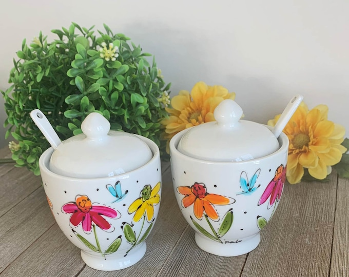 Two small Porcelain jam jar with lid and spoon, yellow, red, pink, orange flowers, mustard jar, sugar jar, Unique gift, Hand painted