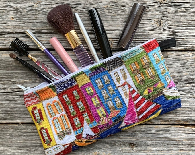 Pencil case, colourful houses, sailboat, Cosmetic bag, zipped makeup pouch cats, make up bag, storage bag, zipper bag