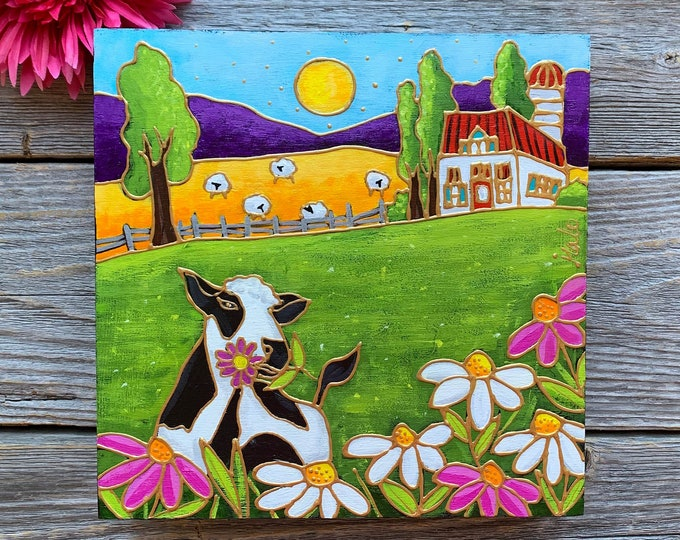 Original acrylic painting on wood frame, country landscape, Black and white Cow, white and pink daisy,  sheep, farm, hand paint