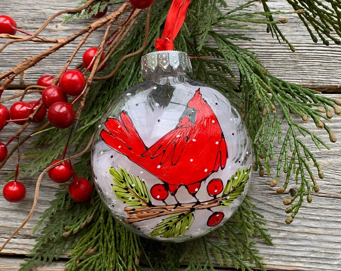 Hand paint, Christmas ball ornement, red Cardinal bird on branch, red berries, Christmas ball, One of a kind, Christmas tree gift