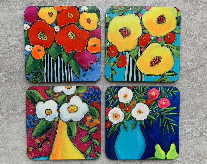 """Flowers Coasters, Set of Coasters 4"""", Colourful flower vase coaster, red, yellow, white, orange, pink, flower gift, Home decor, kitchen gift"""