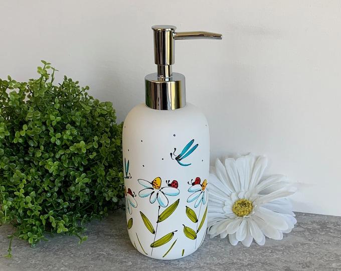 Soap dispenser white mat porcelain daisy ladybug blue dragonfly hand painted