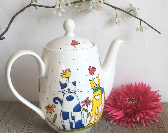 Featured listing image: Cat porcelain Tea pot, hand painted