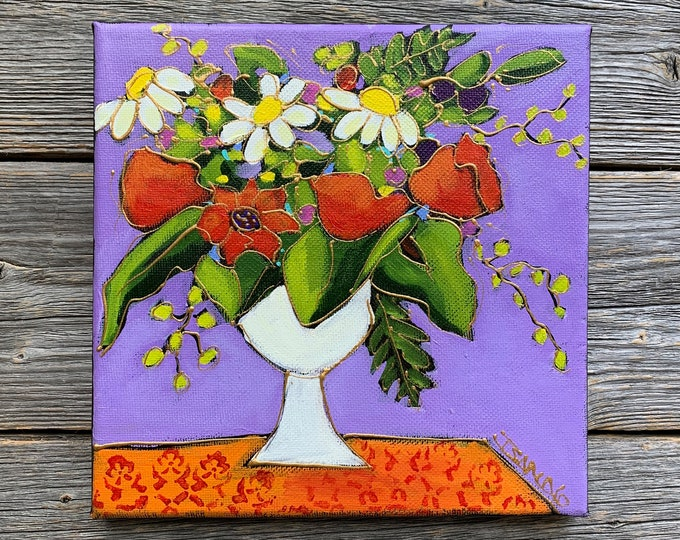 Original acrylic painting, flower vase, red flowers, daisy, purple background, hand paint by artist Isabelle Malo