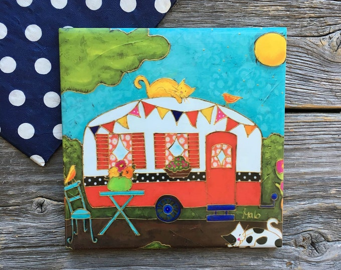 "Featured listing image: Coaster Art print, Camping car, Ceramic, Art tile, Camping car with 2 cats, 4"" x 4"", square trivet, Camping gift, Camping car gift,"
