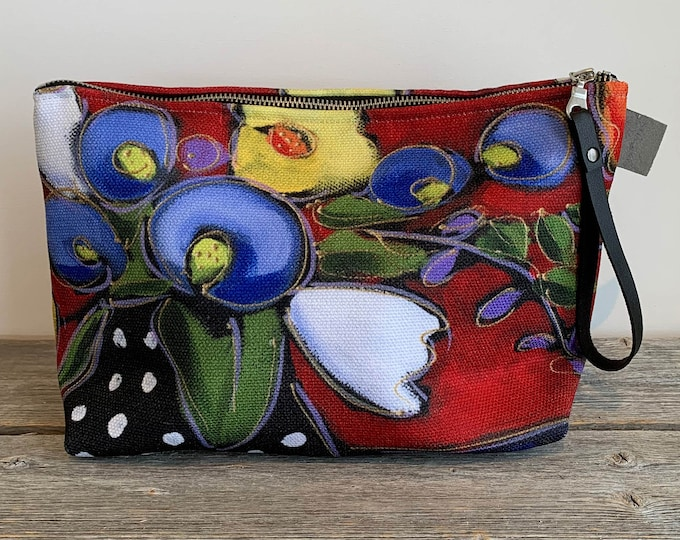 Large Cosmetic bag, Bleu, yellow and white flower, red background, flower cosmetic pouch, cosmetic lover case gift