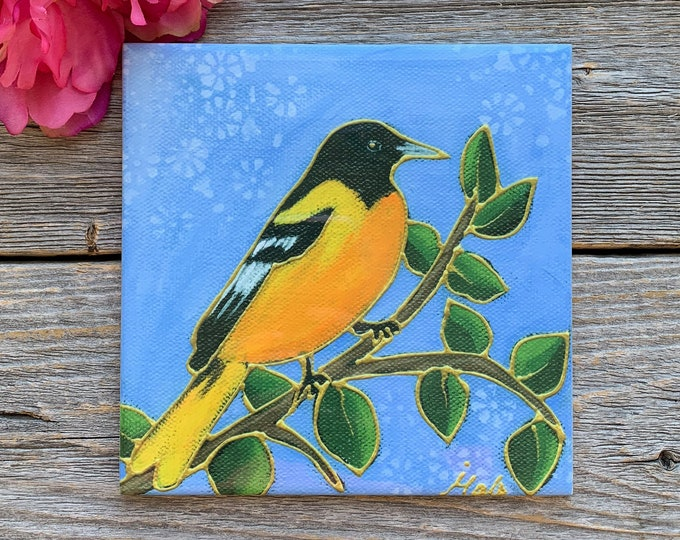 Ceramic tile trivet orange bird Baltimore oriole