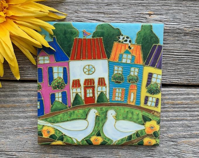 "Coaster, Ceramic tile, 2 white dove, 4"" x 4"", colourful houses, Dove gift lover, Ceramic Art print by Isabelle Malo"