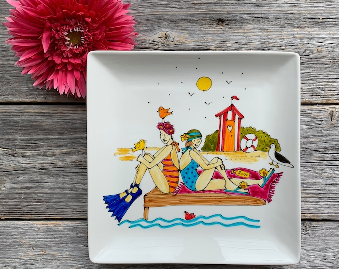 girl at the beach, Square porcelain plate, beach cabin, bird,  Sea and Beach lover, unique gift, Hand painted
