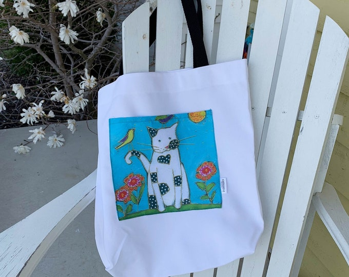 Tote bag with pocket for shopping cat