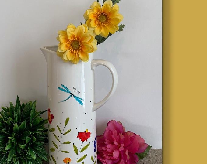 Pitcher white stoneware hand paint flower dragonfly flower vase