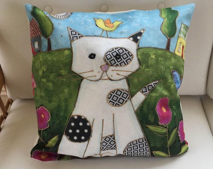 Pillow case decorative square, 18 x 18, Velveteen fabric, White Cat, flowers, bird, zipper, gift bedroom children, baby bedroom