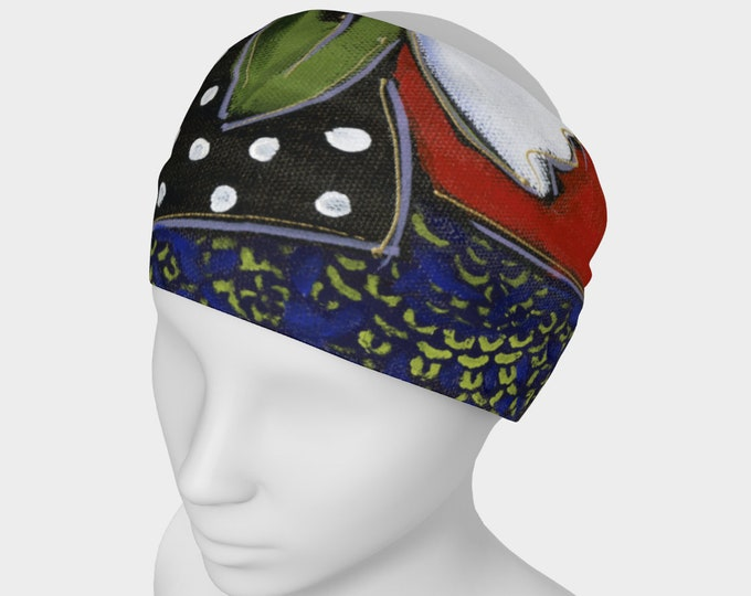 Headband flower, scarf face warmer, blue, yellow and white flowers, red background, for danse, yoga or sport