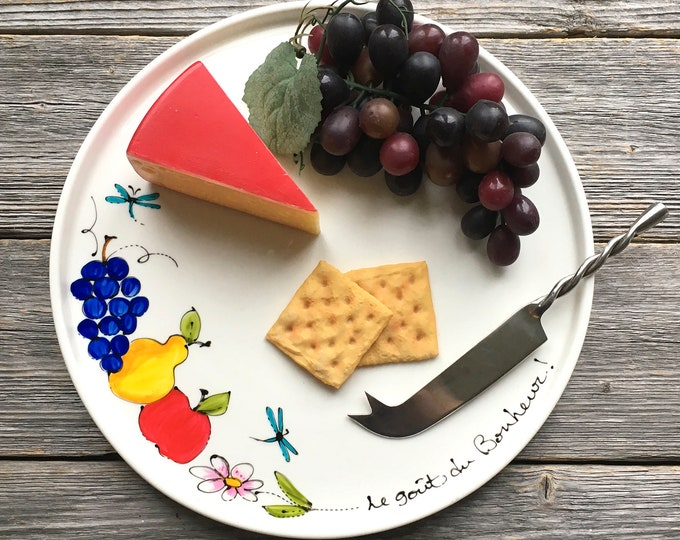Featured listing image: Round Ceramic Serving tray, fruits, Cheese board tray, fruits plate, Dinner tray, Hand painted