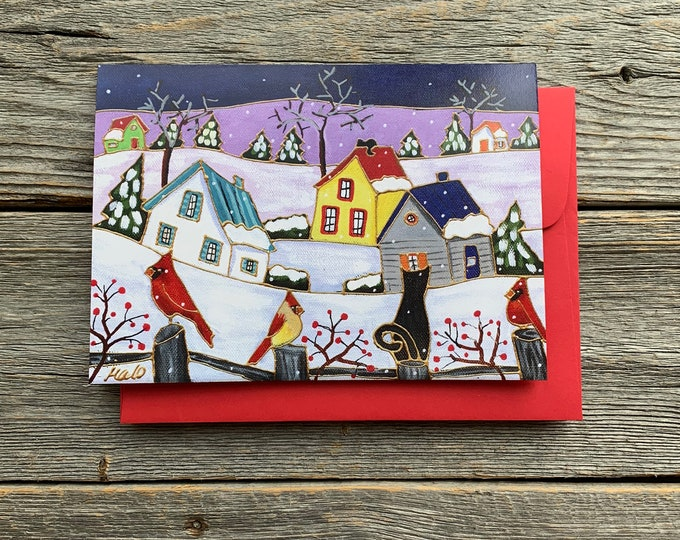 "Greeting card, three bird, black cat, winter scene, Quebec winter landscape, 5"" x 7"", by artist Isabelle Malo"