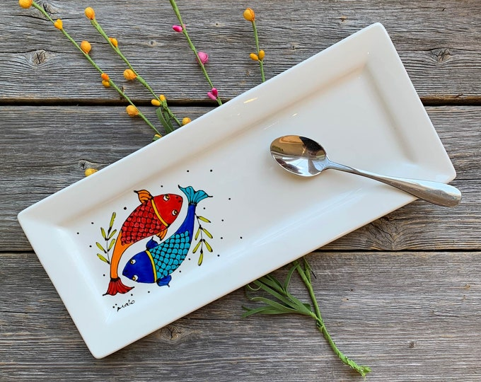 Fish serving Plate, Porcelain, blue fish and red Fish, Fish lover gift, Hand painted