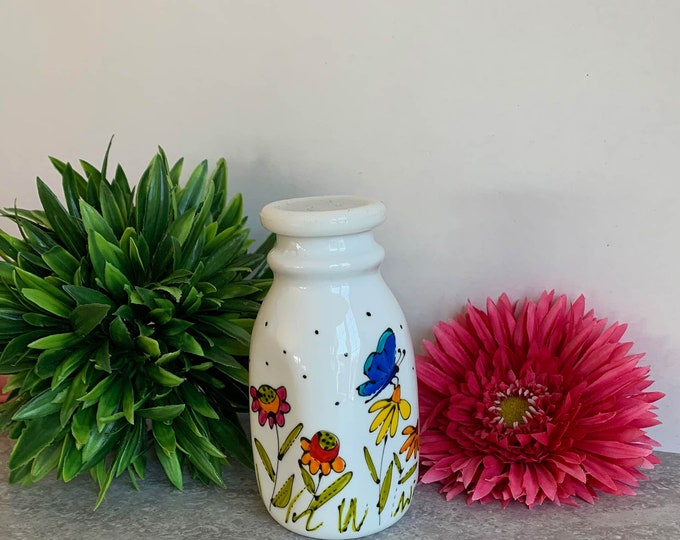 Small creamer vintage-style white stoneware flower butterfly dragonfly hand painted