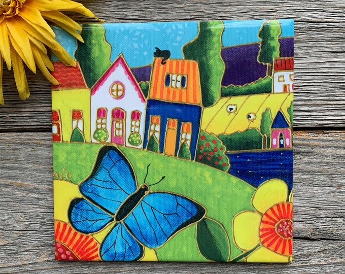 "Ceramic tile, blue butterfly, colourful houses, landscn, 6"" x 6"", square trivet, Art print ceramic"