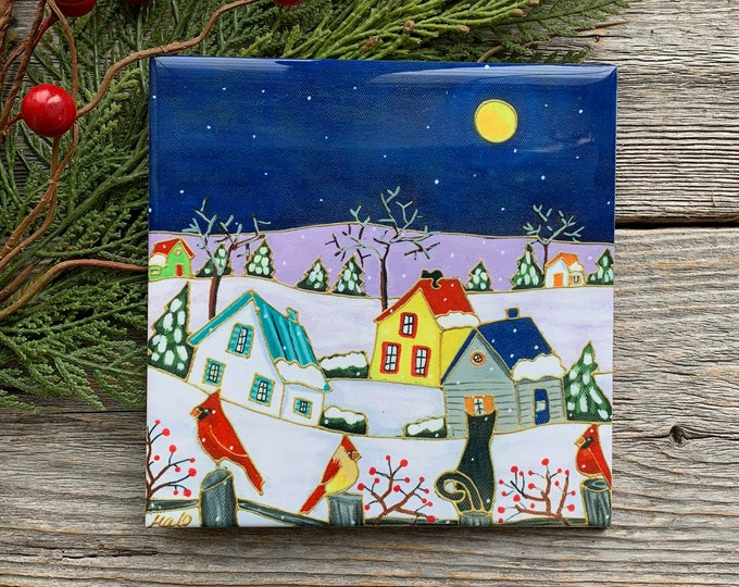 Ceramic tile wall Art, Winter scene landscape, red cardinal, black cat, Colourful houses, square trivet, 6 x 6, wall art ceramic