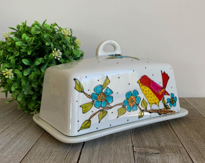 Butter dish ceramic with lid, Birds on branch, blue flowers, bird kitchen gift, unique gift, hand painted