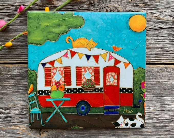 Art print Coaster, camping trailer, caravan, cat, Ceramic tile, square trivet, Art print coaster gift