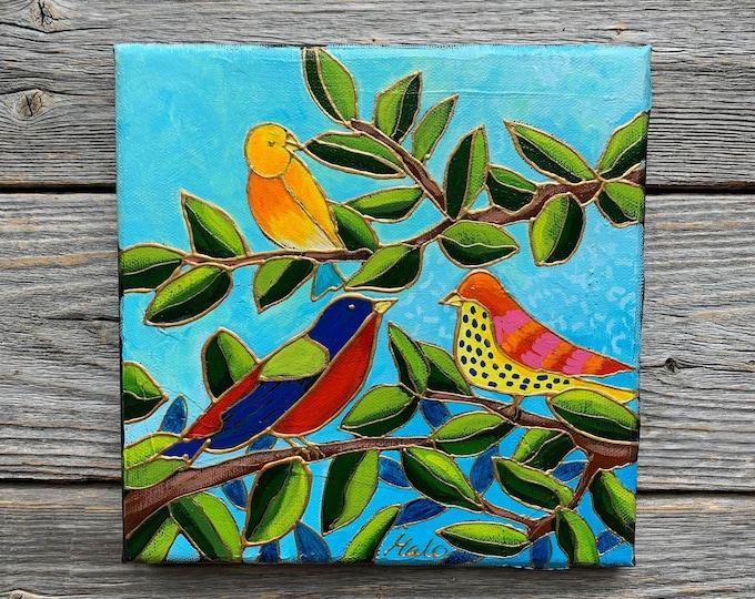 Original acrylic painting on canvas tree colourful bird on branch