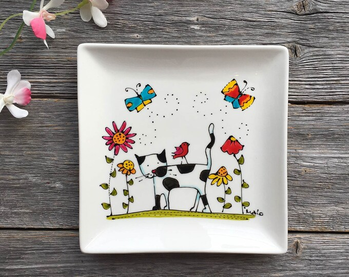 Cat plate, Square porcelain plate, dessert plate, kitchen cat lover, unique gift, Hand painted by isamlo