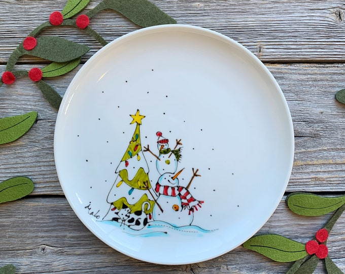 Serving plate, Snowman, Christmas tree, Cat, unique gift, personalize, Hand painted