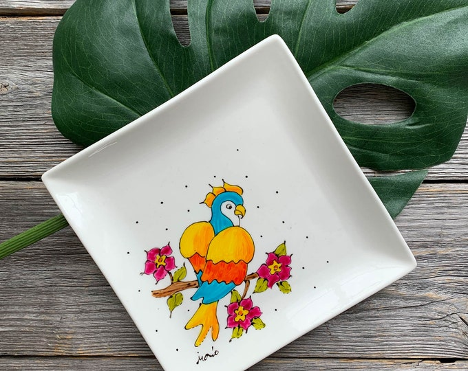 Cockatoo plate, Square porcelain plate, dessert plate, jewel tray, kitchen gift, unique gift, Hand painted by isamlo