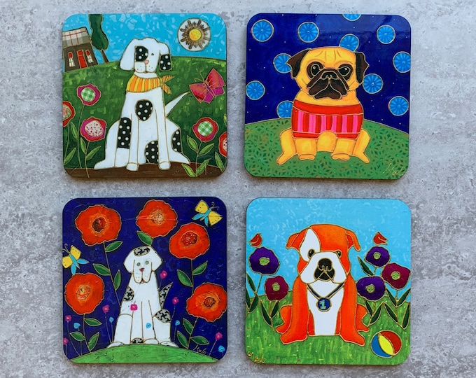 "Dog Coasters, Set of Coasters 4"", Dog, Bulldog baby, Pug,  coaster table, Home decor, kitchen gift dog"