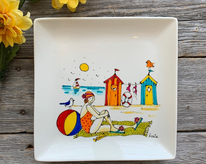 Square porcelain plate hand painted girl beach cabin sea sailboat serving tray kitchen decoration