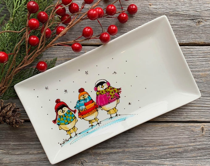 Small rectangle porcelain plate, 3 birds with colourful sweater, beanie, scarf, unique Christmas gift, Hand painted