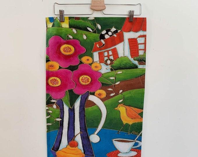 Tea towel, cotton, Hemp, pink flowers, cupcake, coffee, bird, Cat, house, art print, kitchen gift, flower lover, by Isabelle Malo